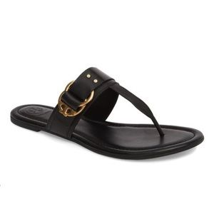 Tory Burch Black & Gold Buckle Marsden Leather